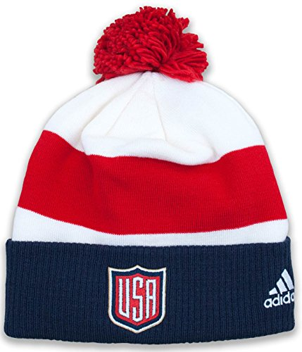 Adidas Jersey Hat (USA World Cup of Hockey Adidas 2016 Player Cuffed Pom Knit Hat)