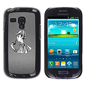 Qstar Arte & diseño plástico duro Fundas Cover Cubre Hard Case Cover para Samsung Galaxy S3 III MINI (NOT REGULAR!) / I8190 / I8190N ( Pipe Smoke Man Detective Rain Coat Art Drawing)