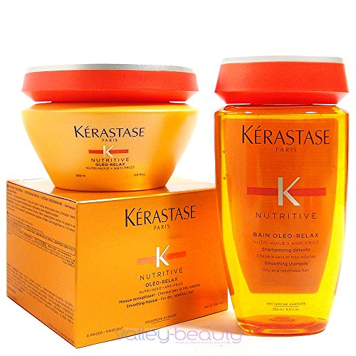 Kerastase Nutritive Bain Oleo-relax Shampoo 8.5 and Masque 6.8 Duo, for Very Dry, Curly, and Unruly Hair (Oleo Relax Masque)