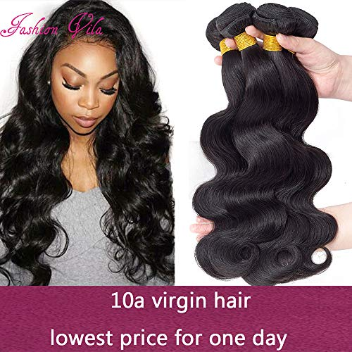 - 10A Brazilian Virgin Hair Body Wave Bundles 400g 100% Unprocessed Human Hair Weaves 4 Bundles Brazilian Body Wave Human Hair Extension Natural Black (18 20 22 24)