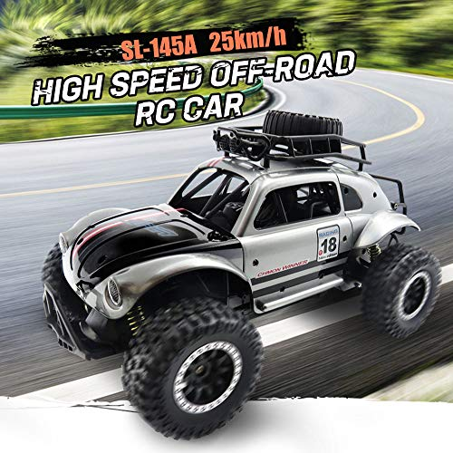 Hot  Flytec Crawler Car 2.4G 1/14 Four-Wheels Independent Suspension Shockproof Anti-Skid High-Speed Remote Control Off Road Car for Kids and Adults (Silver)