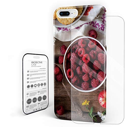 - Durable Phone Case for iPhone 7 Plus/iPhone 8 Plus, Raspberry Flower Teacup Apple Food Stylish Phone Shell Shockproof Protective Back Cover with Tempered Glass Screen Protector, Anti-Scratch