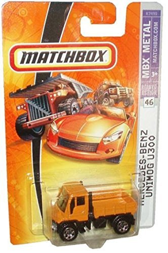 Matchbox Mercedes-Benz Unimog U300 Flat Bed Delivery Dual Exhaust Variant Set: Silver & Orange 6 Spoke #46 & The Blue Highly Detailed #61 Black Wheel {3 Pieces} Scale 1/64 Collector