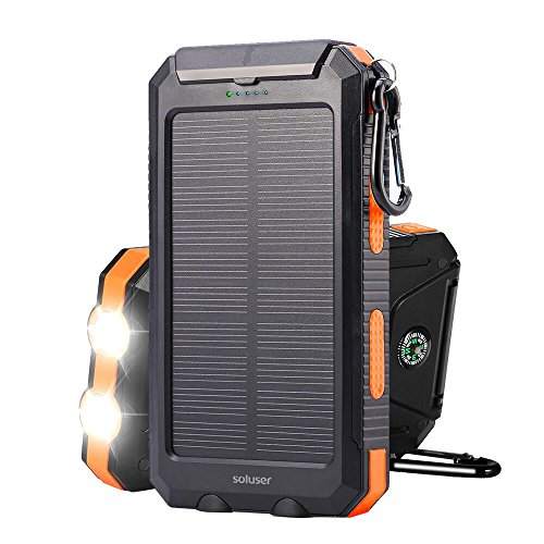 Solar charger Soluser 10000mAh Portable Solar Power Bank, IP67 Waterproof Dual USB Ports Battery Bank with 2 LED Flashlight, Compass for smart Phone, cell Phone, iPhone, Samsung, lg phone, Android pho