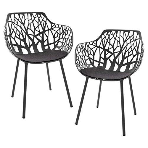 Forest - 2 sillones de jardín negro/con recubrimiento de ...