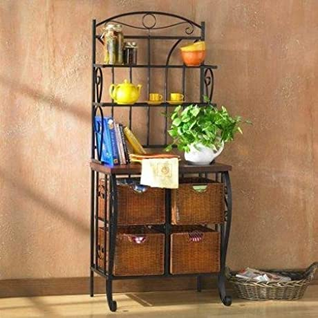 Iron Wicker Indoor Baker S Rack With Drawer Black
