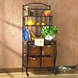 Iron/Wicker Indoor Baker's Rack with Drawer , Black