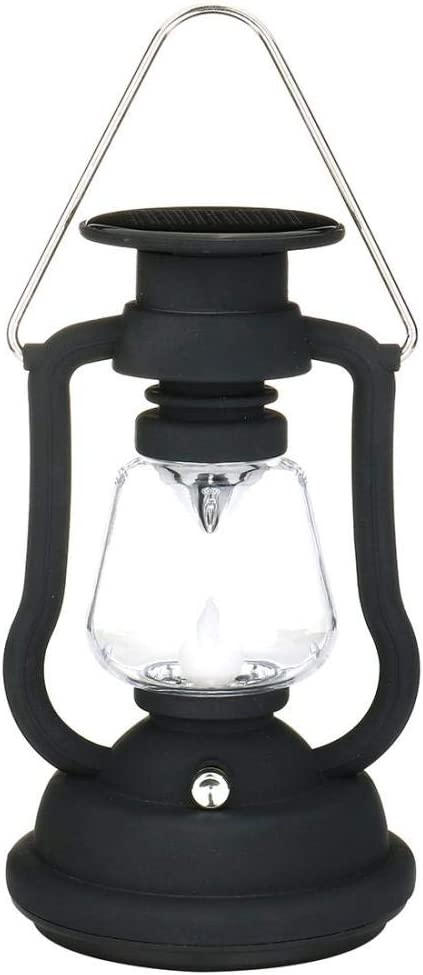 Antique Solar Lantern Lights Outdoor Waterproof Solar Table Lamp Hanging Lighting with 7 LED for Garden Patio Umbrella Lamp Tree Decor Camping Lantern Hurricane Lantern (Black)