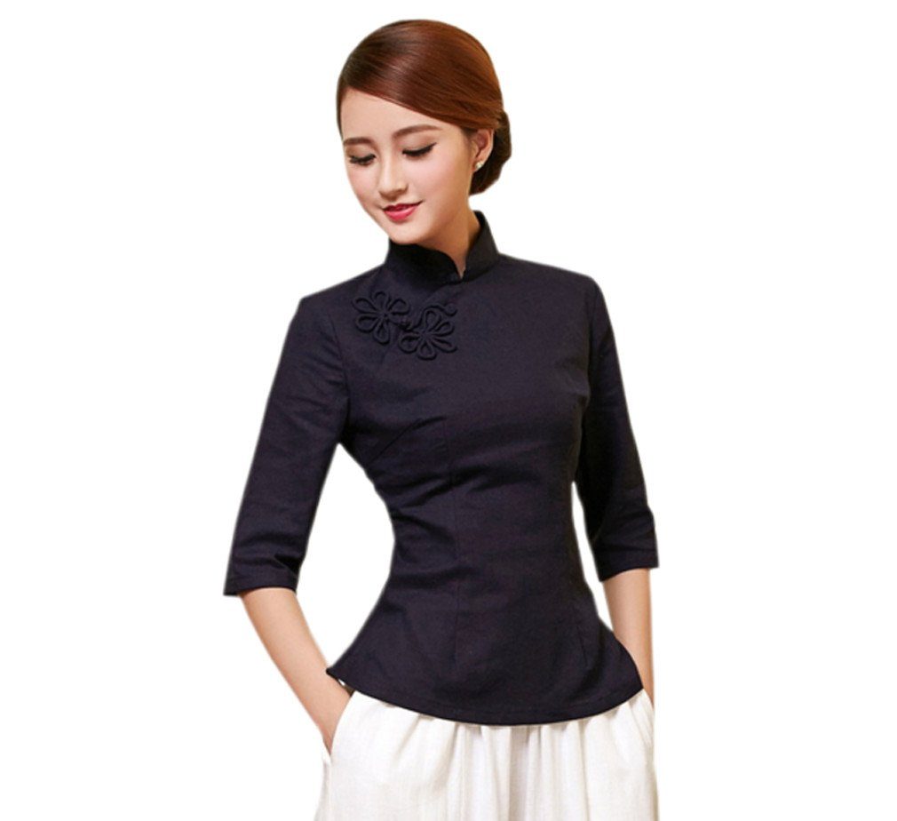 ACVIP Women's Solid Color Cotton Linen Half Sleeve Chinese Top Shirt (8(Tag XXL), Navy Blue)