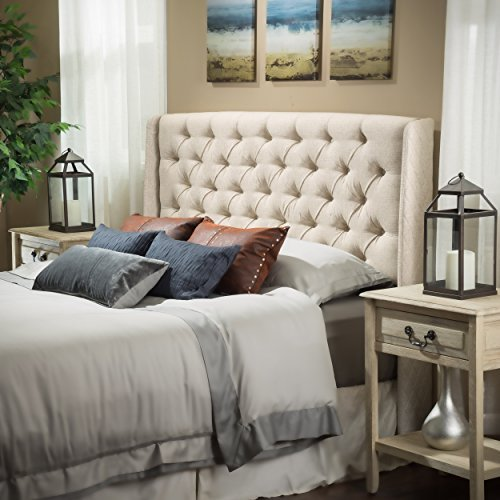 Great Deal Furniture Allen Wingback Queen/Full Tufted Eggshell Fabric Headboard