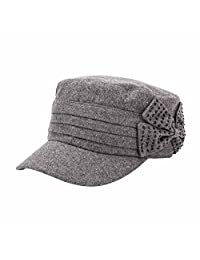 Q&Y Yq Women's Winter Wool Military Hats Cadet Caps