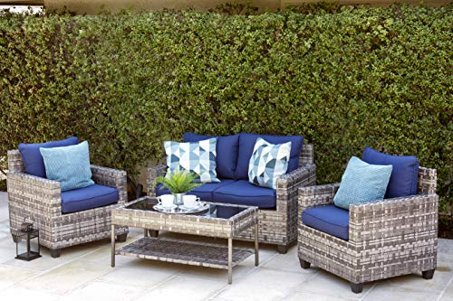 Quality Outdoor Living 65-57373 Austin All-Weather Wicker 4 Piece Deep Seating Set, Grey Blue Cushions (Wicker Furniture Quality)