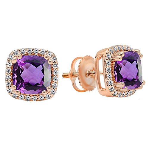Dazzlingrock Collection 14K Each 6.5 MM Cushion Cut Amethyst & Round Cut White Diamond Ladies Stud Earrings, Rose Gold