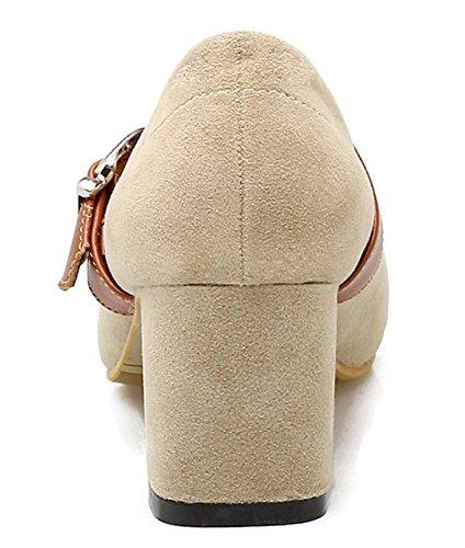 Idifu Donna Elegante Punta Quadrata Cinturino Con Fibbia Mid Block Tacco Basso Pompe Mary-jane Beige
