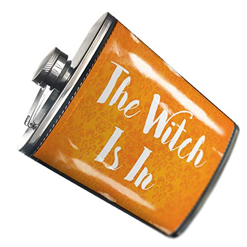 NEONBLOND Flask The Witch Is In Halloween Orange Wallpaper Hip Flask PU Leather Stainless Steel -