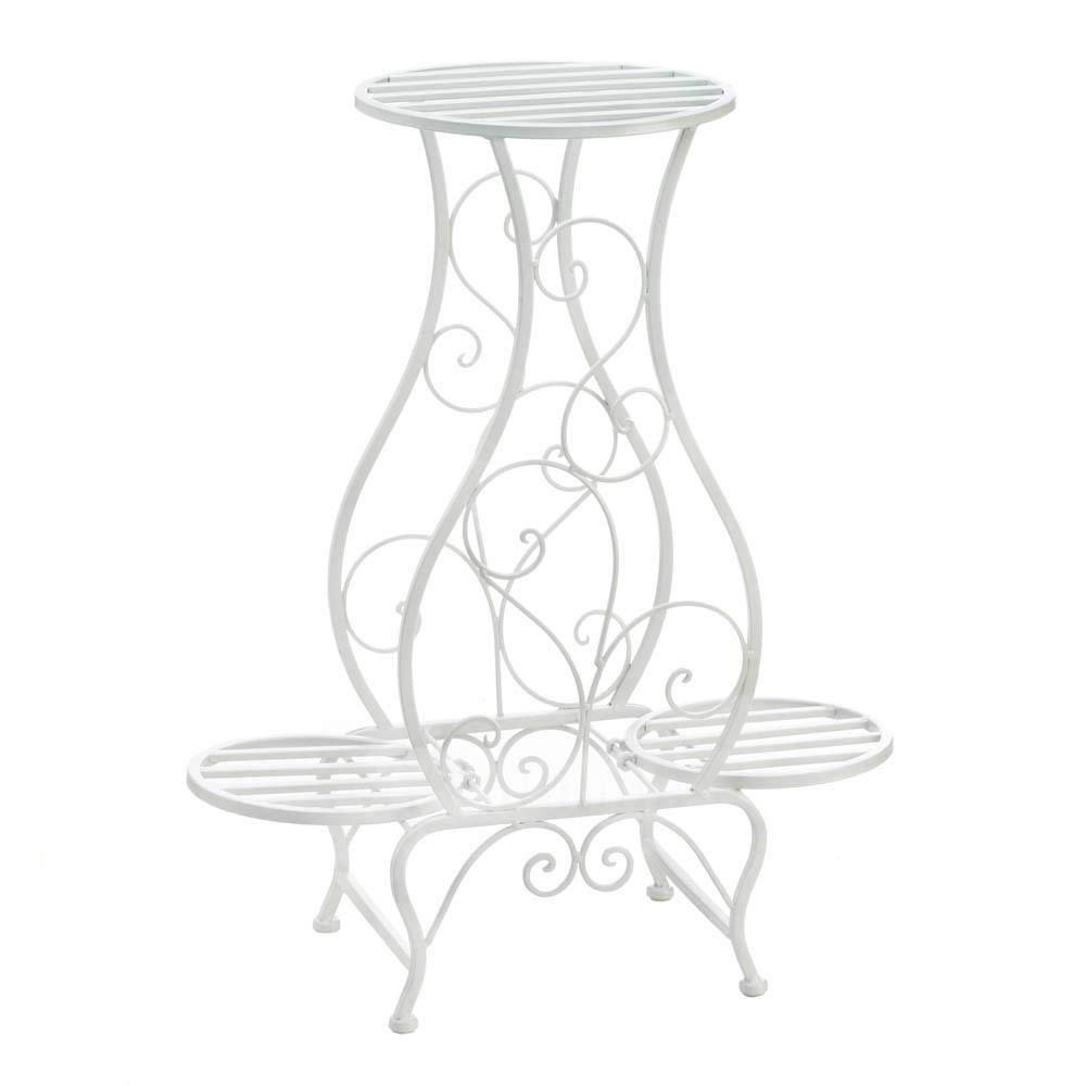 Durable Modern Elegant Indoor Outdoor Garden Patio Living Room Entryway White Hourglass Triple Plant Stand Outdoor Curling New Metal Long Lasting Use