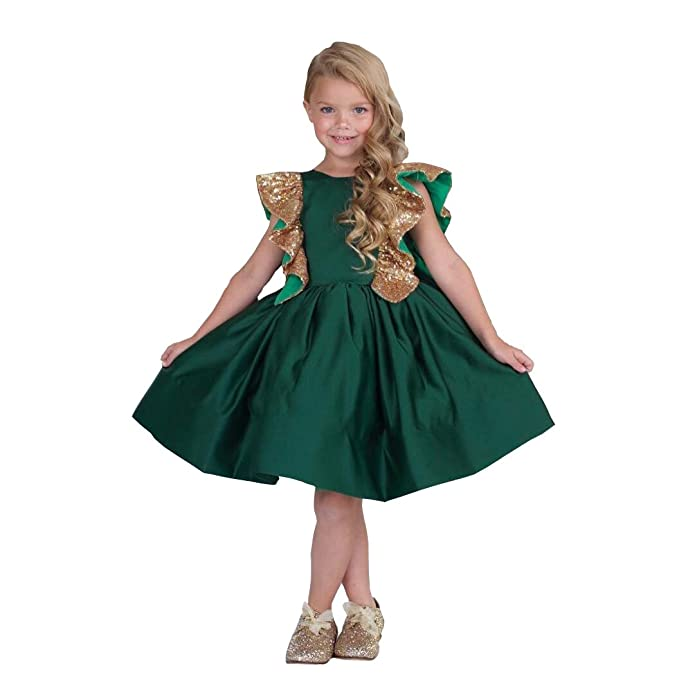 Amazon.com: banfvting Flor Vestidos de niña verde esmeralda ...
