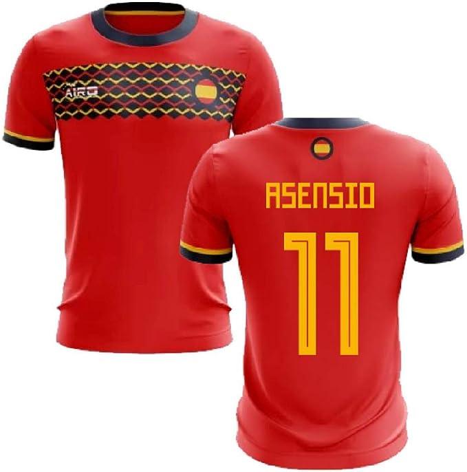 Airosportswear 2019-2020 - Camiseta de fútbol de España (Marco asensio 11), Hombre, Rojo, S/Contorno del Pecho: 88/96 cm: Amazon.es: Deportes y aire libre