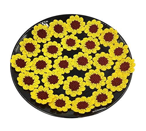 NAVA CHIANGMAI Handmade Beautiful Crochet Flowers Petals Craft Sewing Crocheted Flowers Appliques Embellishments ()