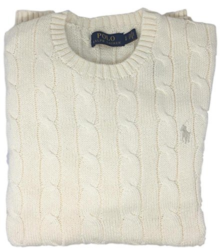 Polo Ralph Lauren Men's Pony Cable Knit Crewneck Sweater (S, Chic Cream - Knit Sweater Crewneck