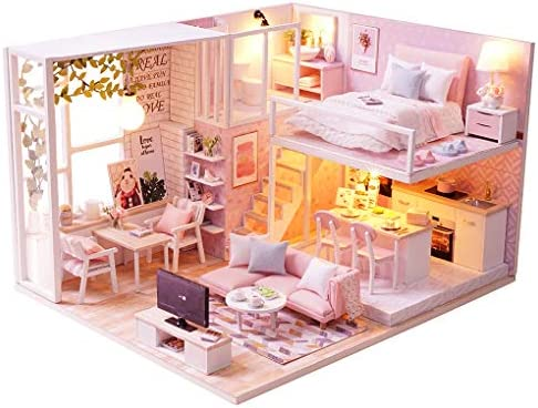 Doll House Miniature Car Theme Bedroom DIY Room With Furniture 1:24 scale