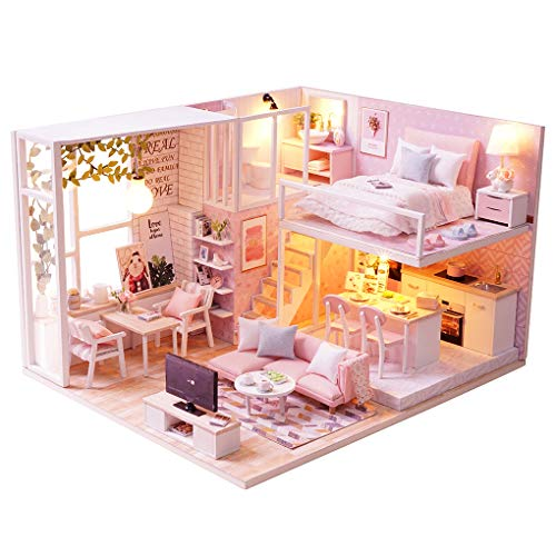 Diy Wooden Dollhouse With Miniature Furniture Accessories, 1:24 scale Miniature Handmade 3D Puzzle Dollhouse Model Kits Gift Collection Decor Toys, with Music movement Dust Cover (tranquil life) ()
