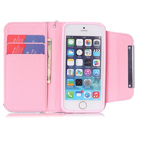 MOONCASE iPhone 5C Case PU Leder Wallet Tasche Flip Etui Case Cover 2 in 1 abnehmbarer weicher TPU Innen Schale für iPhone 5C -FT03