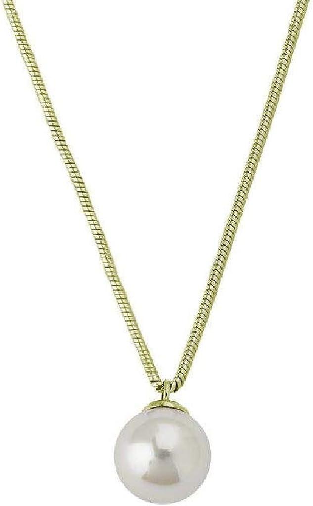 Majorica 14581.01.1.000.010.1 Cadena y Colgante Mujer Plata Chapada Perla 10 mm