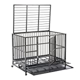 Sliverylake 3XL Large Dogs 48'' Dog Cage and Crate Kennel Heavy Duty Double Door Pet Cage with Metal Tray Wheels Exercise Playpen Silver