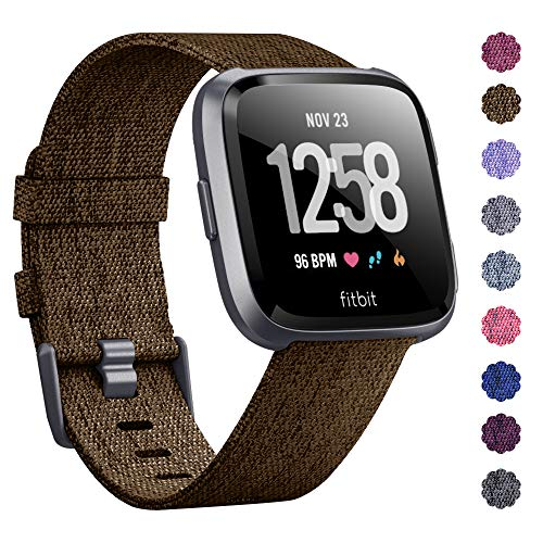 KIMILAR Compatible Fitbit Versa Bands, Women Men Large Small Woven Fabric Breathable Accessories Strap Compatible Fitbit Versa Smart Watch (041802-L, Large(7.1