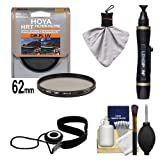 Hoya 62mm HRT Circular PL Polarizer UV Multi-Coated Glass Filter + Accessory Kit for Canon, Nikon, Sony, Olympus & Pentax Lenses