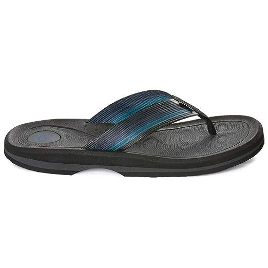 228e10333f91 Amazon.com  Rafters Men s Tsunami Stripe Flip Flops Blue Multi 11 ...