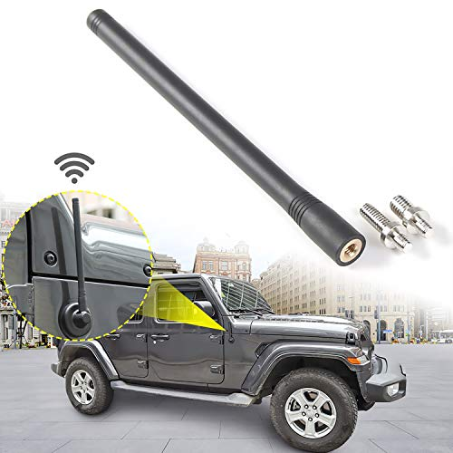 JeCar 7.5Inch Stubby Reflex Short Antenna Replacement JK JL Accessories Metal ABS Antenna Designed for Optimized FM/AM Reception for Jeep Wrangler JK JL Unlimited Sport Rubicon Sahara 2007-2019 Black ()