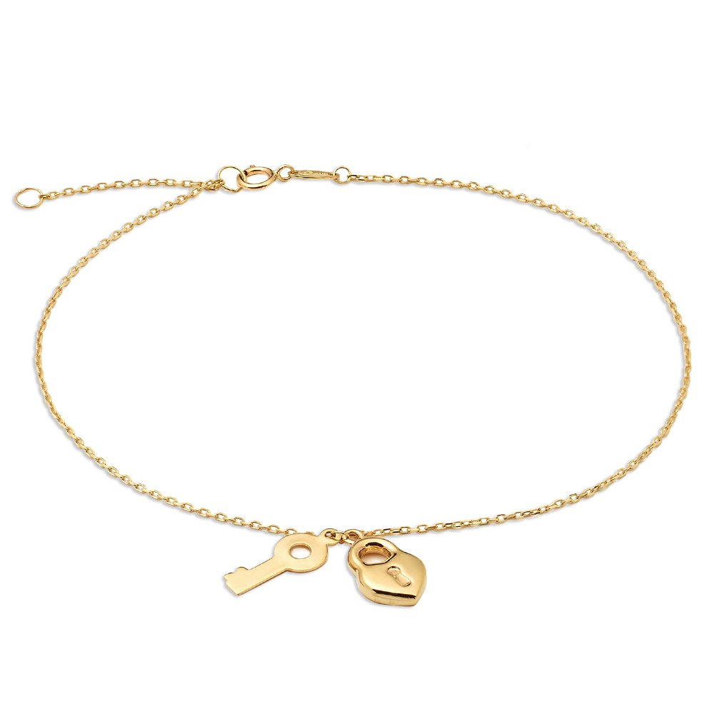 MR. BLING 10K Yellow Gold .50mm D/C Rolo Chain w/ a Lock & Key Charm Anklet Adj. 9'' to 10'' (#10)