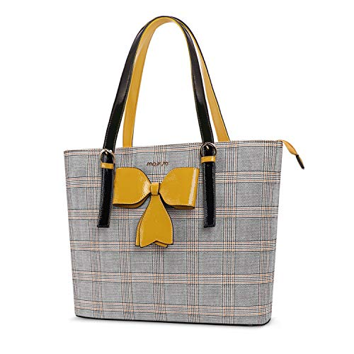 MOSISO Laptop Bag for Women, 15.6 inch Laptop Tote Bag Premium PU Leather Grid Pattern Large Capacity Work Business Travel Briefcase Handbag with Bowknot Compatible with MacBook&Notebook, Yellow