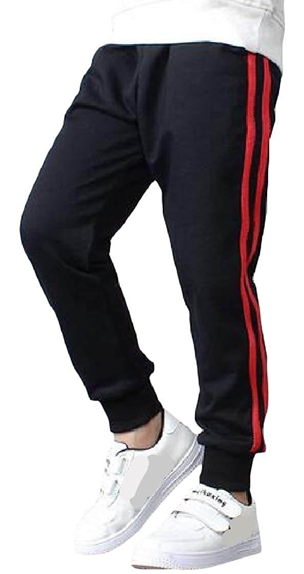 Macondoo Big Boys Sweatpants Casual Elastic Waist Jogging Side Stripe Pant