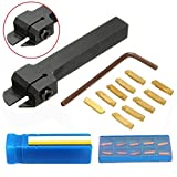 10pcs MGMN200-G Inserts + 1pc MGEHR1212-2 Lathe Turning Tool Holder Boring Bar with Wrench