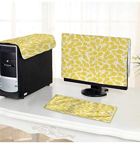 onitor Dust Cover 3 Pieces pple Fruitwith Dots and Little Circles White and Yellow Antistatic, Water Resistant /25