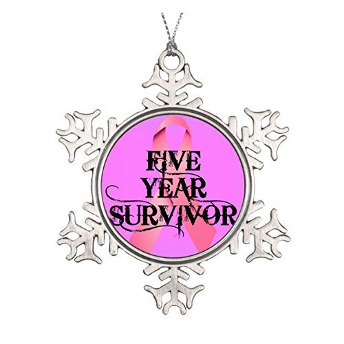 LilithCroft99 Breast Cancer 5 Year Survivor Pewter Snowflake Christmas Ornaments,Christmas Tree Decorations Ornaments,Keepsake,Novelty