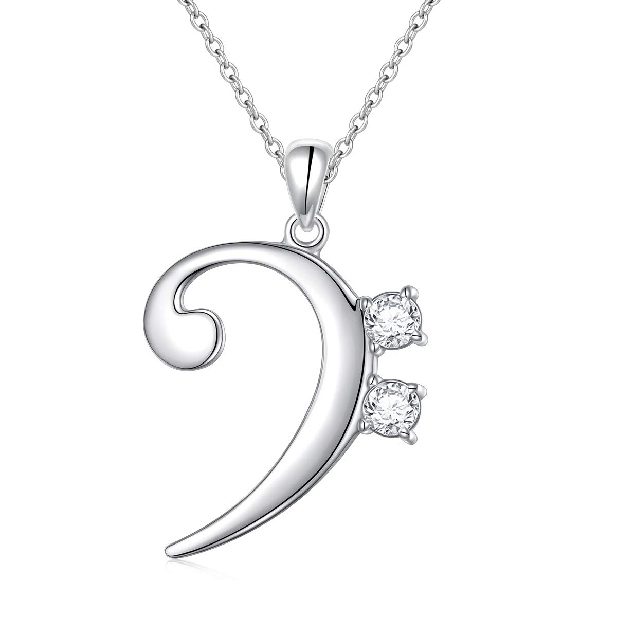 18 Inch 925 Sterling Silver Jewelry for Women Girls Musical Note Necklace Pendant