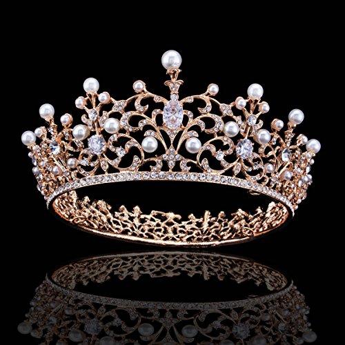 FUMUD Charm Rhinestone Zircon Crown Bridal Tiara Crystal CZ Diadem For Bride Princess Pageant Wedding Hair Accessories (145#gold) -
