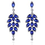 Leaf Laminated Blue Wedding Dangle Earrings for Women or Bridesmaids Bling Earring, Austrain Crystal Earrings For Girl or Bride M&M Jewelry (Blue) minmin