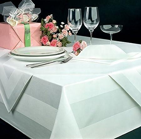 DecoHomeTextil Mantel Color Blanco Damasco, de 130x 280cm, Lavable a máquina a 95°C