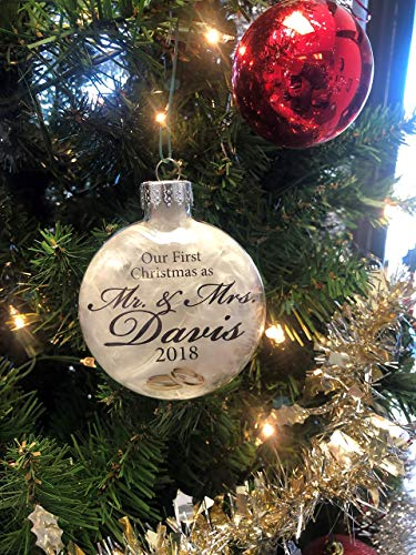 Our First Christmas as Mr. and Mrs. Ornament - Personalized Ornament - Wedding Keepsake ()