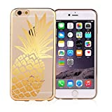 iPhone 6 / 6S, DECO FAIRY Ultra Slim Translucent Silicone Clear Case Gel Cover for Apple - Gold Pineapple