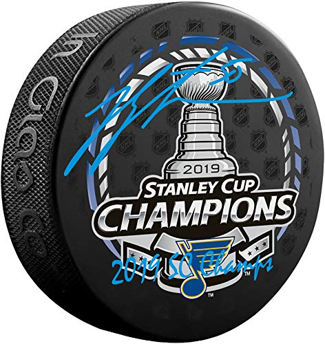 Jordan Binnington St. Louis Blues 2019 Stanley Cup Champions Autographed Stanley Cup Champions Logo Hockey Puck with