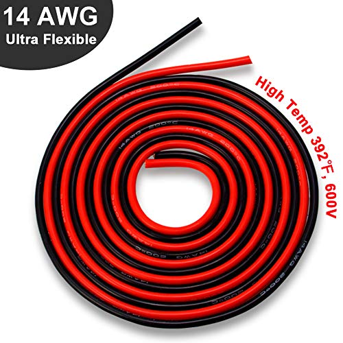 Wire Awg 14 Silicone (14 Gauge Silicone Wire 10 Feet, Ultra Flexible High Temp 200 deg C 600V 14 AWG Stranded Wire with 400 Strands of Tinned Copper Wire, 5 ft Black and 5 ft Red Wire for Model Battery by MILAPEAK)