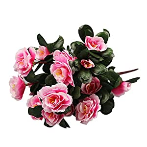Jeeke Floral Bouquet Decor,Artificial Rhododendron Fake Flowers Looks Realistic and Beautiful for Party Valentine Day (Pink, 1 Pcs) 53