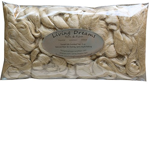Tussah Silk Fiber for Soap Making, Spinning, Blending, Felting, Dyeing, and Paper Making. Natural Golden Combed Top.