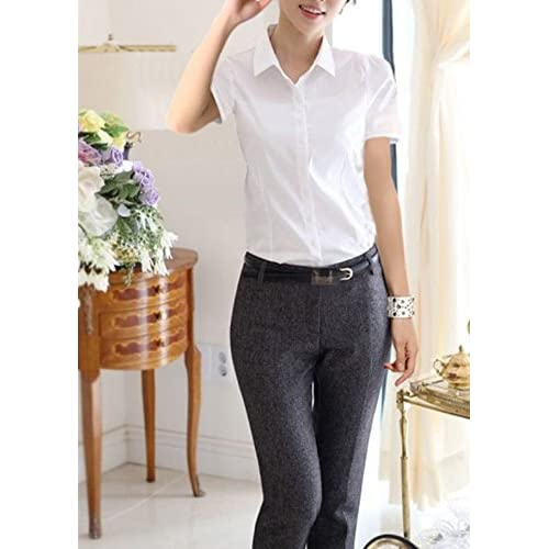 583e13a0 delicate Taiduosheng Women White Slim fit Button Down Shirt with bow tie  Short Sleeve OL Blouse